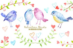 Watercolor Clipart Valentine Birds