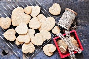 Shortbread cookies & hearts
