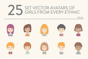 25 vector avatars of girls vol.03