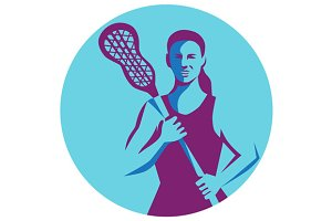 Female Lacrosse Player Stick Circle