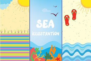 Sea illustrations and icons
