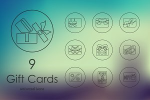 9 Gift Cards line icons