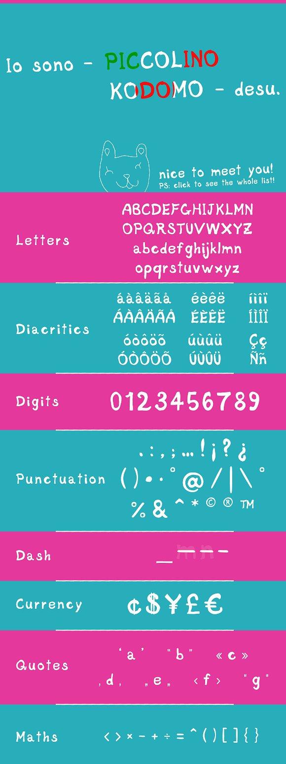Piccolino Kodomo, font & bunnybonus! in Display Fonts - product preview 3