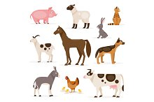 Set of farm animals. Vector