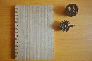 Wood notebook cover