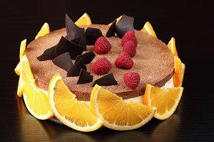 Chocolate Orange Mousse Cake with Ra