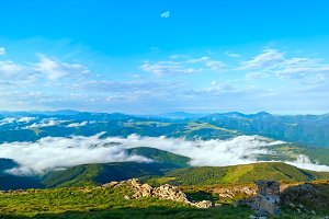 Summer cloudy mountain landscape.