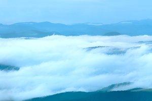 Morning cloudy mountain panorama