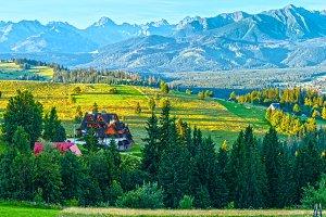 Summer mountain village panorama.