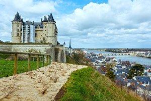 Saumur castle (France) spring view.