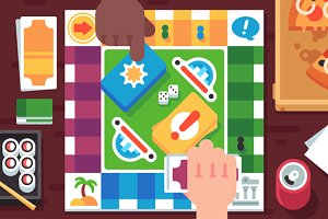 Board Game with Cartoon Hands
