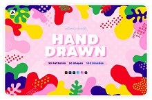 Hand-drawn patterns, shapes, brushes