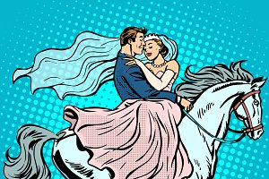 bride groom white horse love wedding