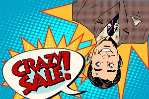 Crazy sale announcement man