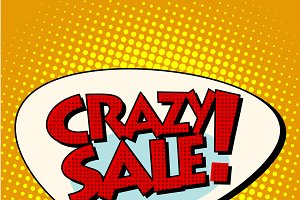 crazy sale comic bubble lettering