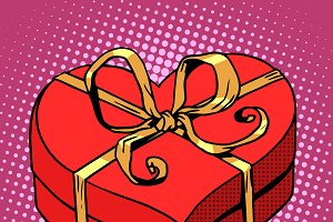 Red gift box Valentines day