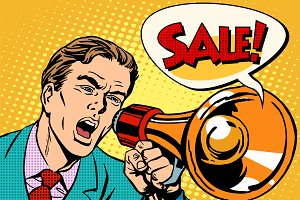 Agitator megaphone announces sale