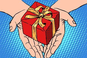 Male hands heart shape gift box