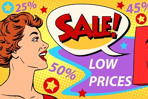 Sales discounts poster style girl