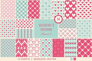14 Seamless Patterns with Hearts