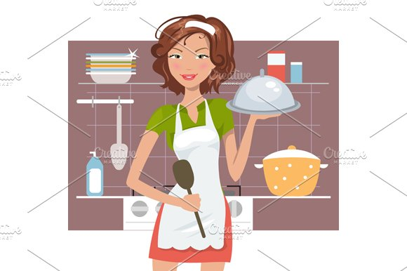 Beautiful woman chef in Illustrations