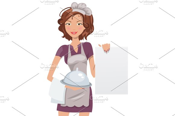 Beautiful woman chef in Illustrations - product preview 1