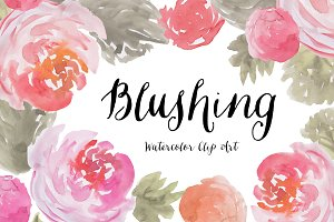 Blushing Watercolor Peony Clip Art