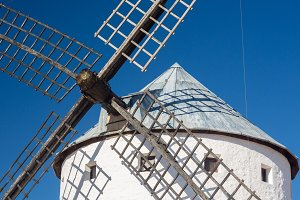 Close up of sails of windmill