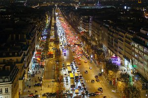 Night Paris City view, France.