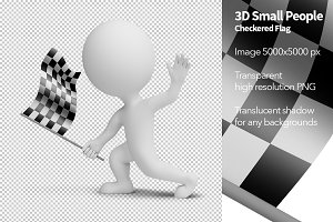 3D Small People - Checkered Flag