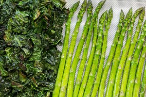 Green kale and asparagus tips