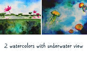2 designs with underwater life