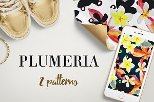 Plumeria. 2 patterns