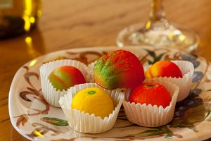 Marzipan fruits and candies