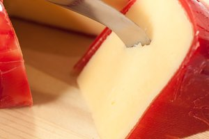 Red wax covered edam cheese