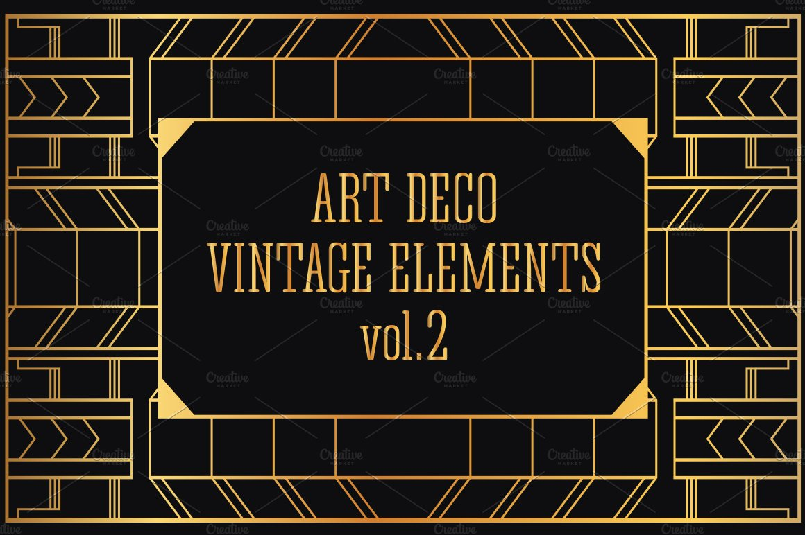 31 art deco design elements vol 2 illustrations on creative market - Deco vol ...