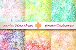 6 Seamless Gradient Florals. Set#2