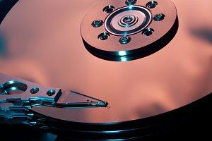 Macro shot of computer drive