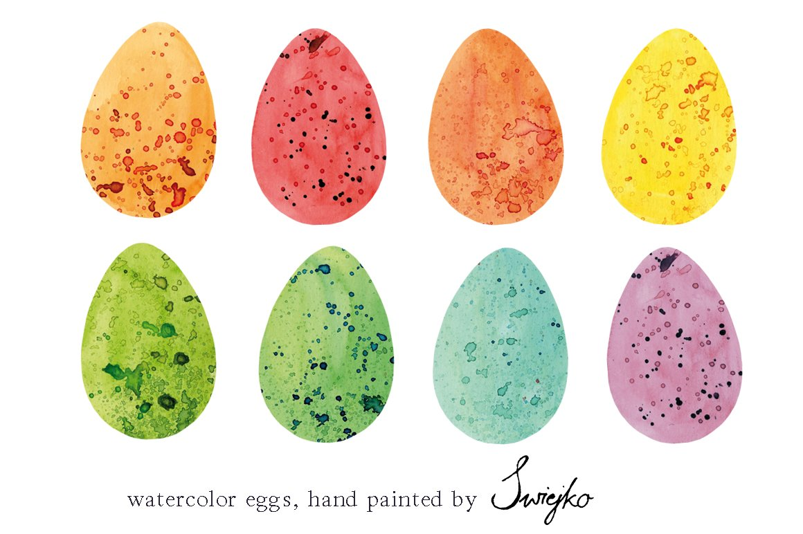 Easter Eggs Watercolor Illustrations Creative Market