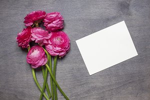 Ranunculus with invitation card