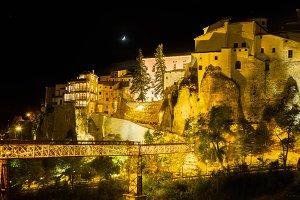 Floodlit town walls of Cuenca
