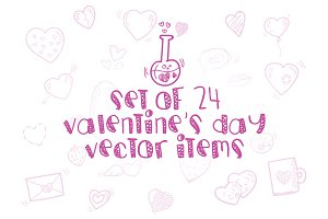 24 Valentine day's vector items