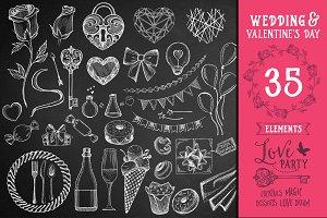 Wedding menu doodles 35 elements