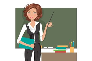 Teacher at blackboard. Vector