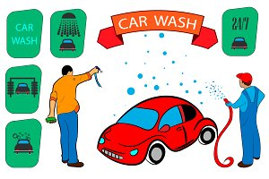 car wash. sign, icon set