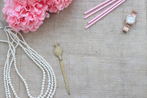 Styled Stock Photo Gold & PinkBurlap