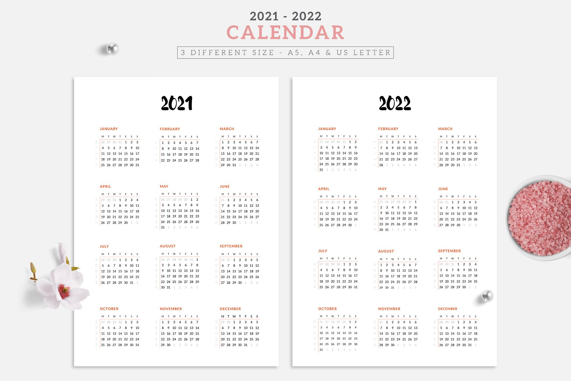 Free Indesign Calendar Template 2022.2021 2022 Minimal Calendar Design Creative Market