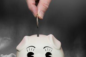 Saving for a rainy day piggy bank