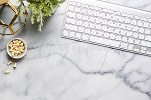 Styled Marble Desktop with Keyboard
