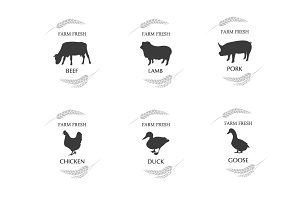 Meat logos, badges